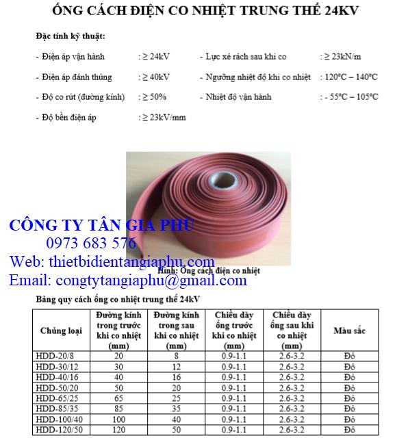 thông số ống co nhiệt trung thế việt nam